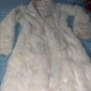 White fur stylish coat